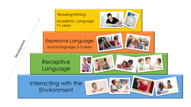 Pyramid - 1st level - Interacting with the environment, 2nd level - Receptive Language, 3rd level - Expressive Language (Social language 2-3 years), 4th level - Reading/Writing (Academic Language 7+ years)